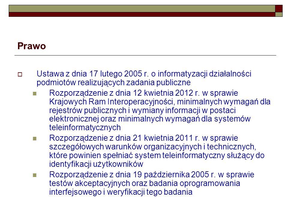 Prawo Ustawa z dnia 17 lutego 2005 r. o informatyzacji działalności podmiotów realizujących zadania publiczne.