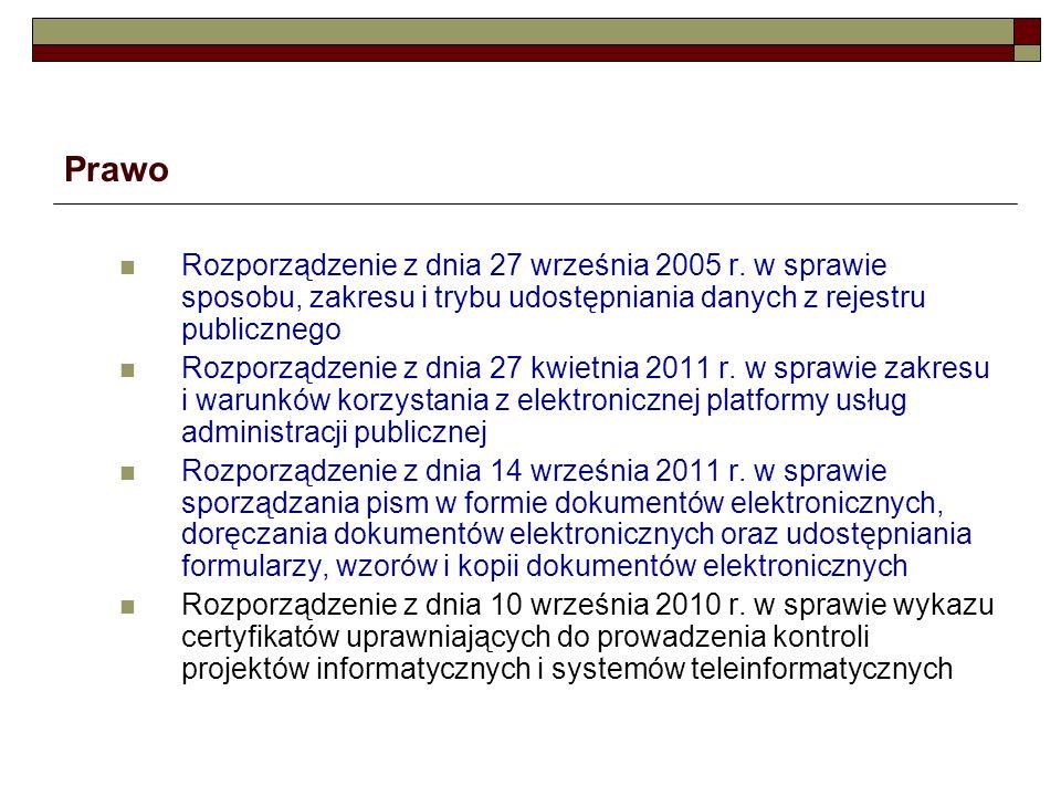 Prawo Rozporządzenie z dnia 27 września 2005 r. w sprawie sposobu, zakresu i trybu udostępniania danych z rejestru publicznego.