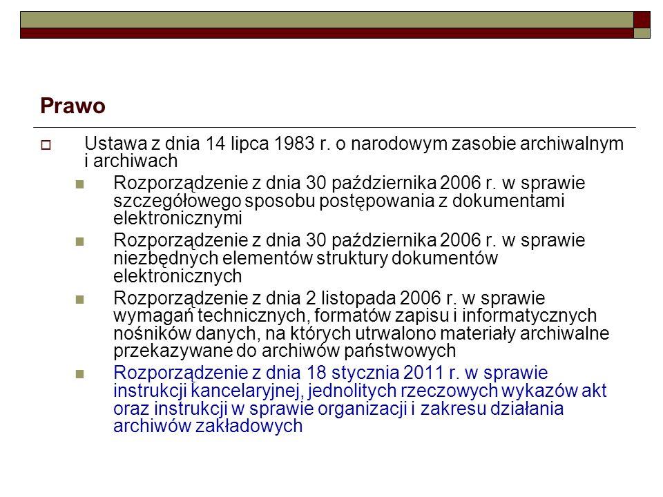 Prawo Ustawa z dnia 14 lipca 1983 r. o narodowym zasobie archiwalnym i archiwach.