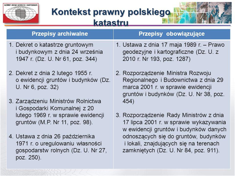 Kontekst prawny polskiego katastru Przepisy obowiązujące