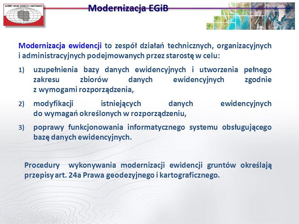 Modernizacja EGiBModernizacja ewidencji to zespół działań technicznych, organizacyjnych i administracyjnych podejmowanych przez starostę w celu: