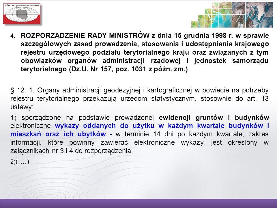 ROZPORZĄDZENIE RADY MINISTRÓW z dnia 15 grudnia 1998 r