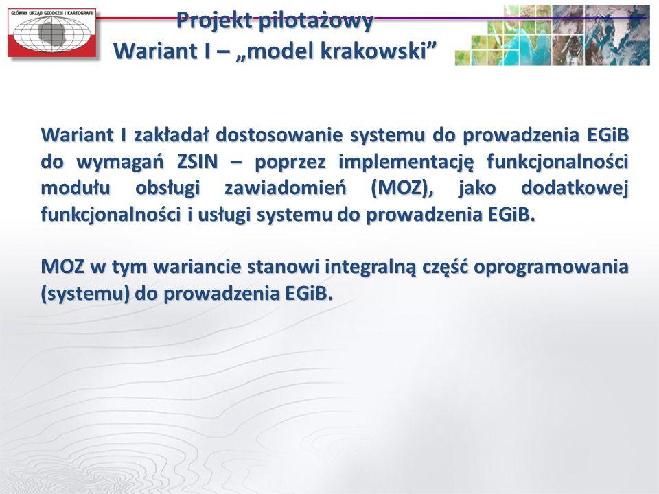 """Projekt pilotażowy Wariant I – """"model krakowski"""