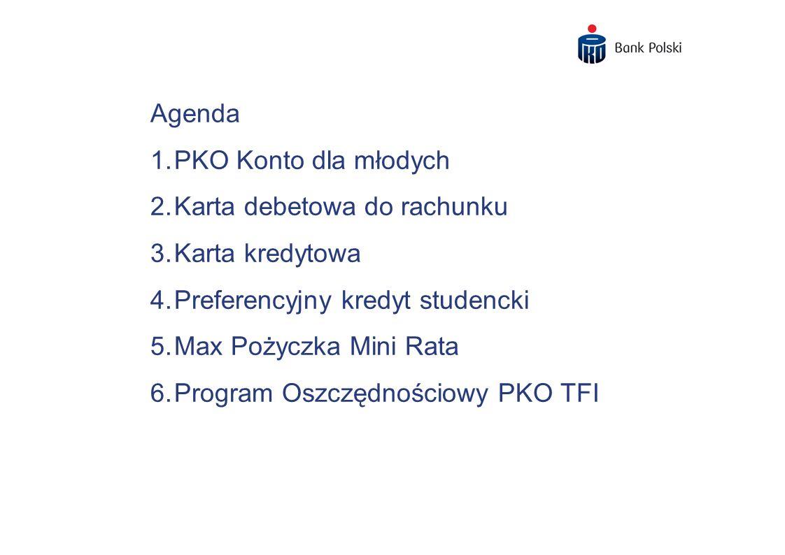 Agenda PKO Konto dla młodych. Karta debetowa do rachunku. Karta kredytowa. Preferencyjny kredyt studencki.