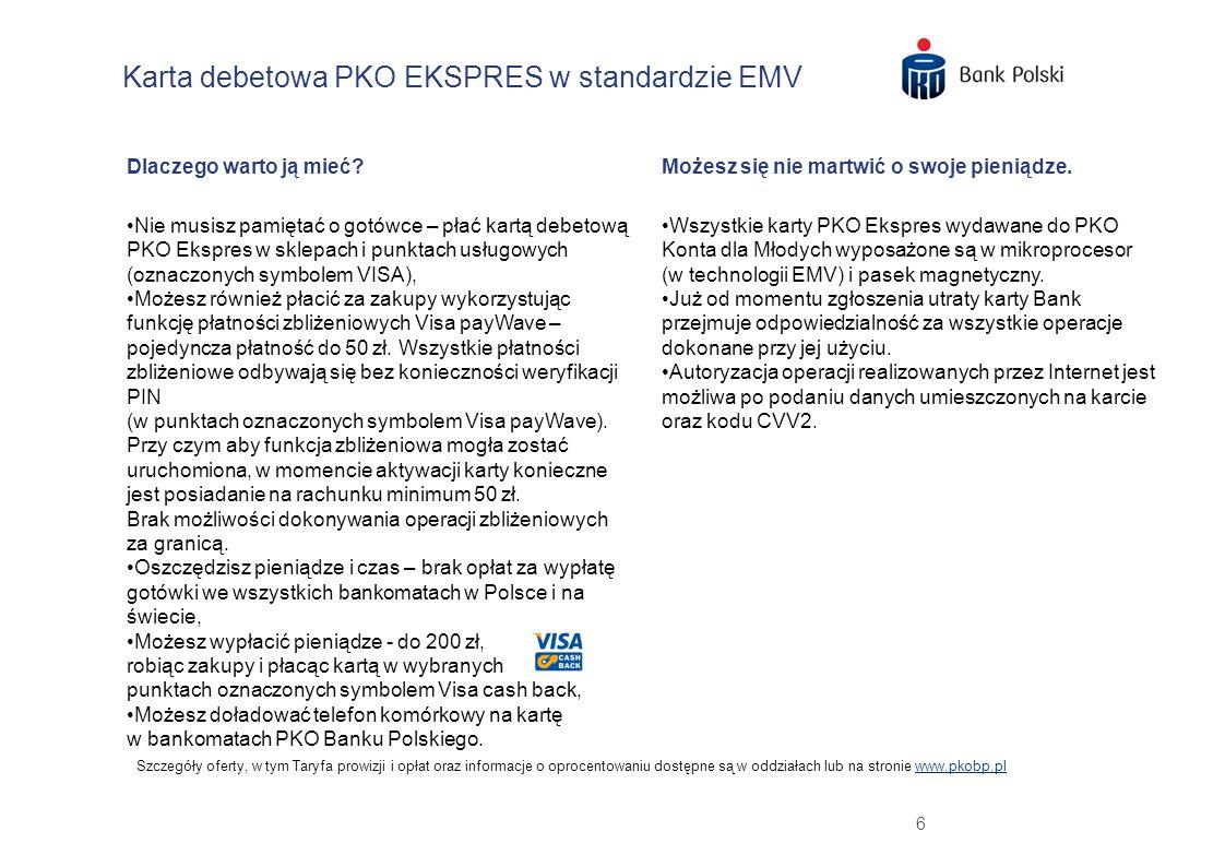 Karta debetowa PKO EKSPRES w standardzie EMV