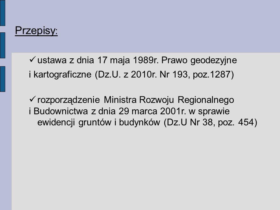 Przepisy: ustawa z dnia 17 maja 1989r. Prawo geodezyjne