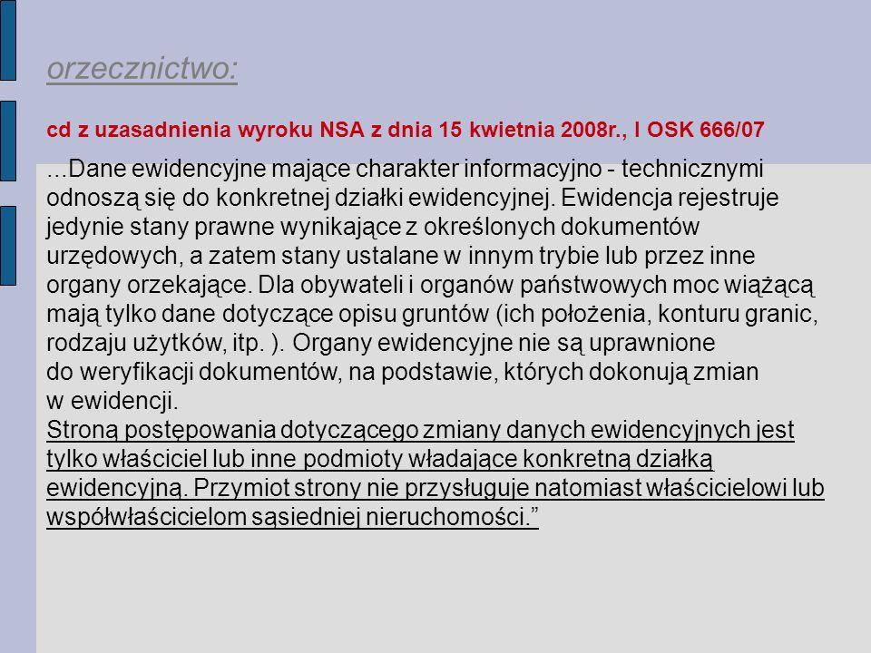 orzecznictwo: cd z uzasadnienia wyroku NSA z dnia 15 kwietnia 2008r., I OSK 666/07.