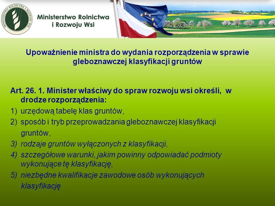 Upoważnienie ministra do wydania rozporządzenia w sprawie gleboznawczej klasyfikacji gruntów