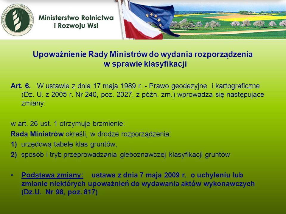 Upoważnienie Rady Ministrów do wydania rozporządzenia w sprawie klasyfikacji
