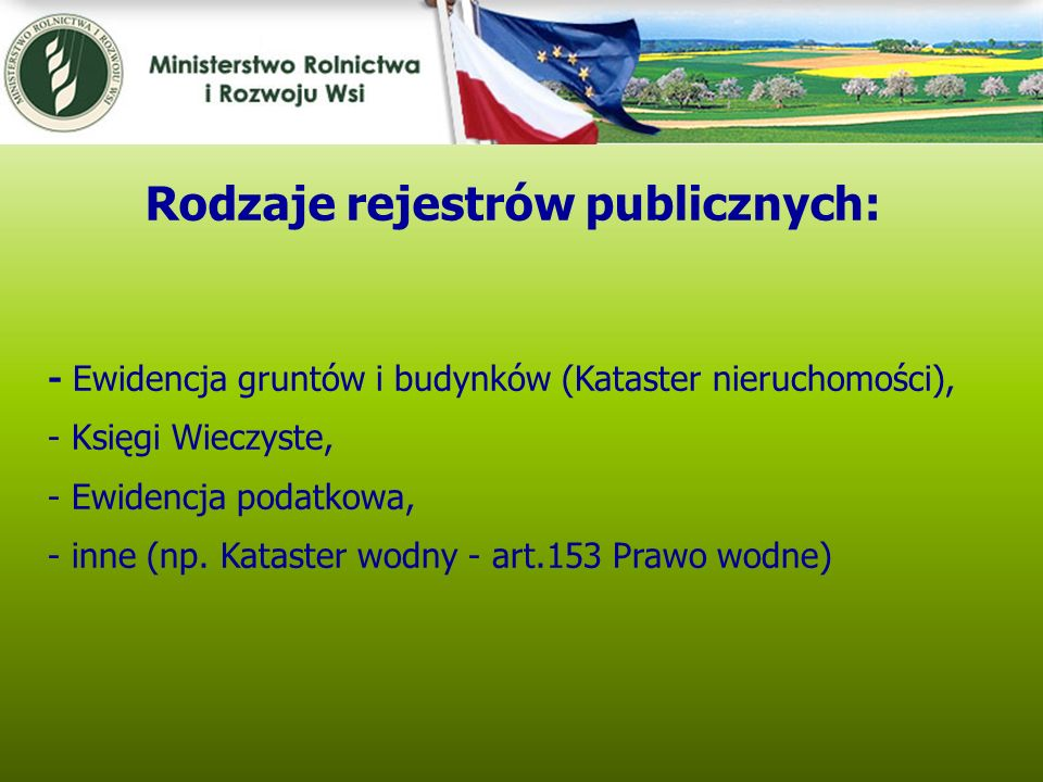 Rodzaje rejestrów publicznych: