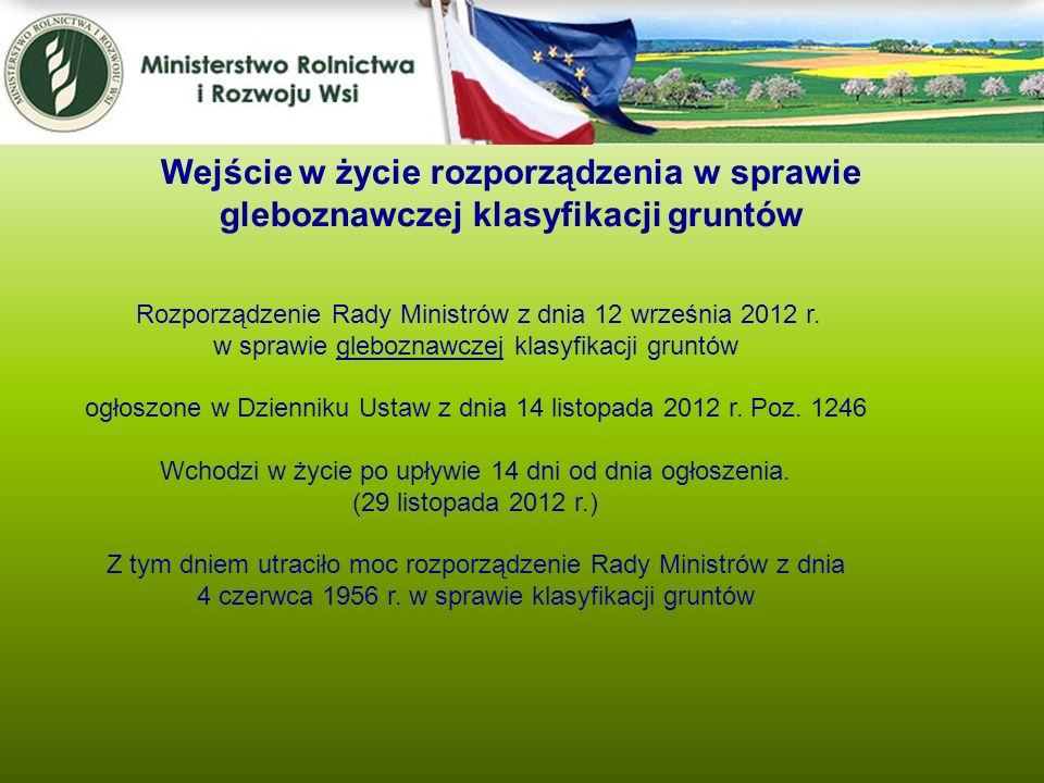 Wejście w życie rozporządzenia w sprawie gleboznawczej klasyfikacji gruntów
