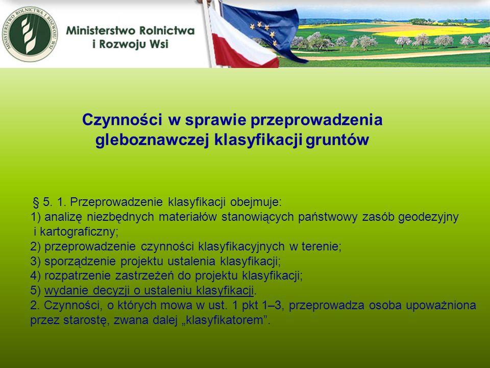 Czynności w sprawie przeprowadzenia gleboznawczej klasyfikacji gruntów