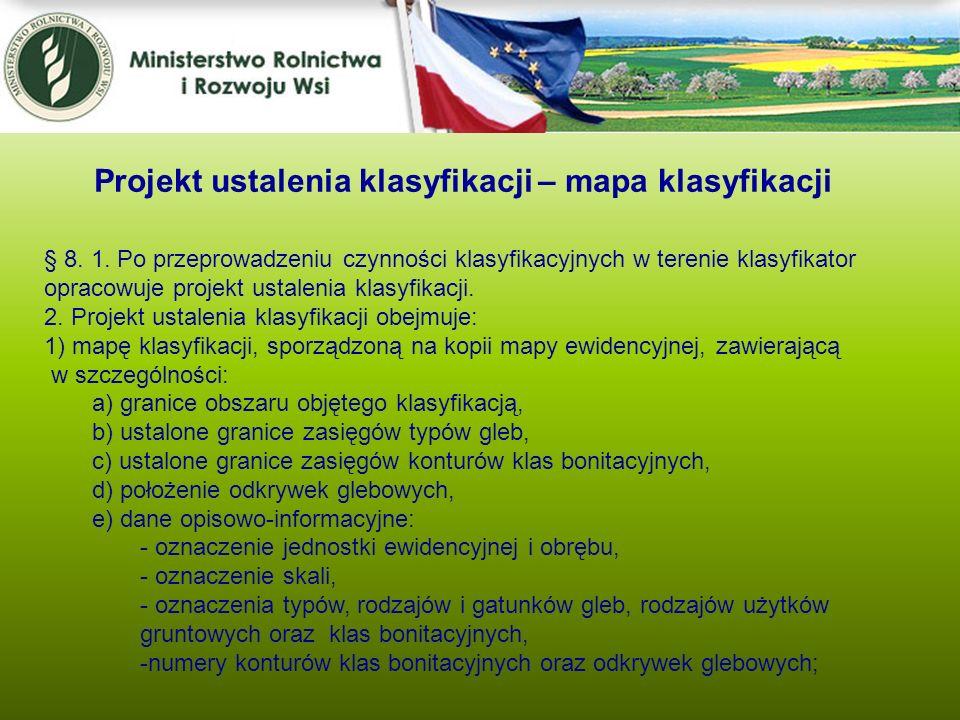 Projekt ustalenia klasyfikacji – mapa klasyfikacji