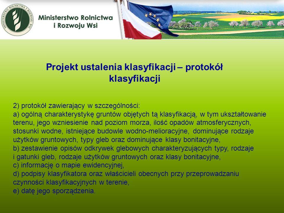 Projekt ustalenia klasyfikacji – protokół klasyfikacji