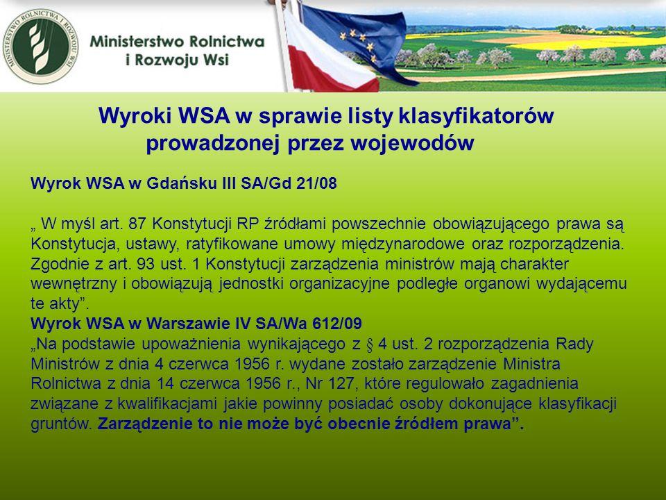 Wyroki WSA w sprawie listy klasyfikatorów prowadzonej przez wojewodów