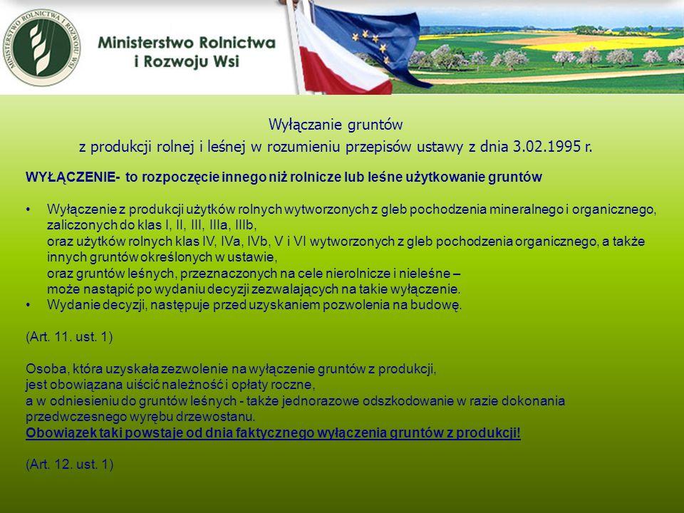 Kwiecień 2005 Wyłączanie gruntów. z produkcji rolnej i leśnej w rozumieniu przepisów ustawy z dnia 3.02.1995 r.