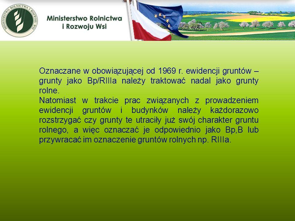Kwiecień 2005 Oznaczane w obowiązującej od 1969 r. ewidencji gruntów – grunty jako Bp/RIIIa należy traktować nadal jako grunty rolne.