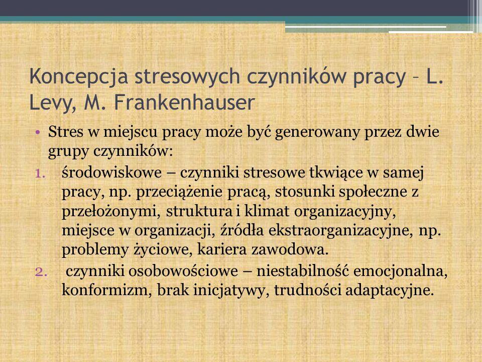 Koncepcja stresowych czynników pracy – L. Levy, M. Frankenhauser