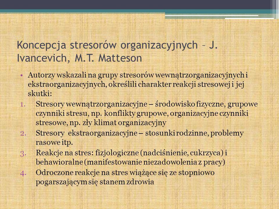 Koncepcja stresorów organizacyjnych – J. Ivancevich, M.T. Matteson