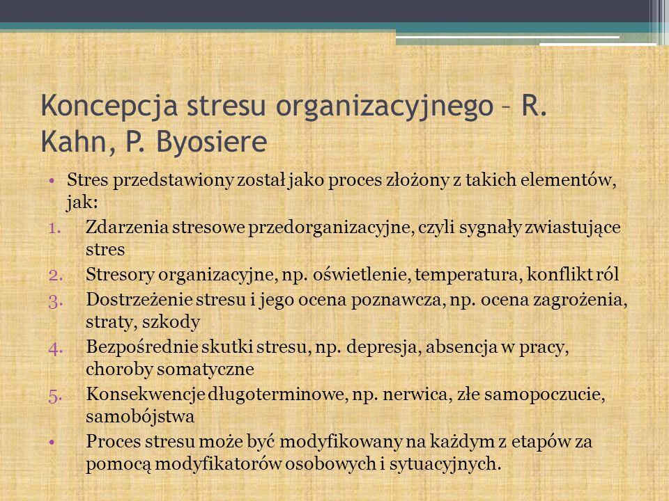 Koncepcja stresu organizacyjnego – R. Kahn, P. Byosiere