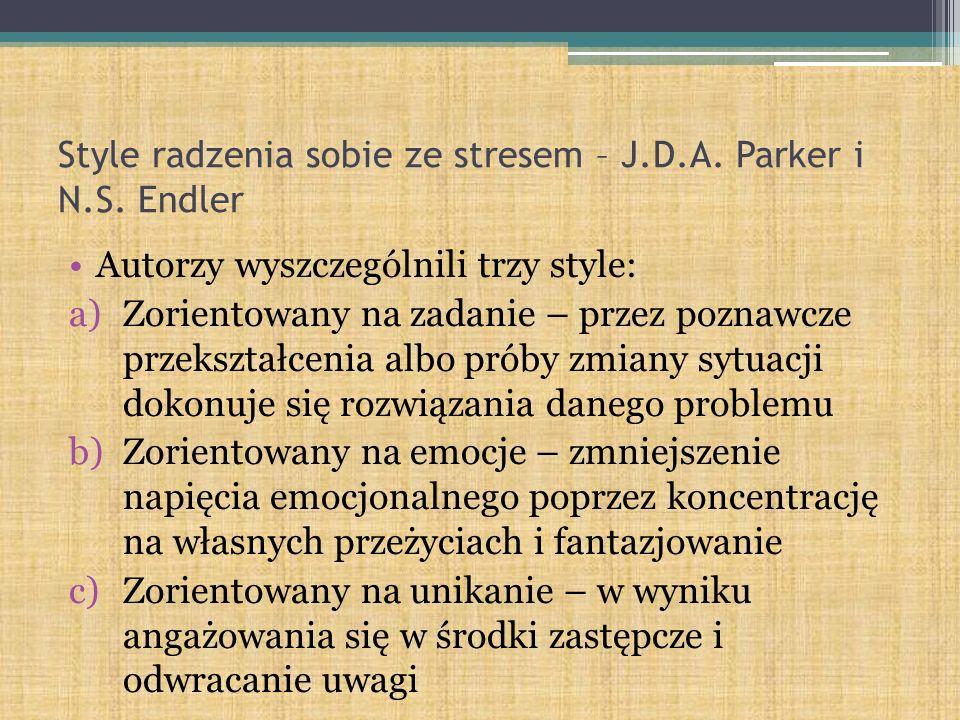 Style radzenia sobie ze stresem – J.D.A. Parker i N.S. Endler