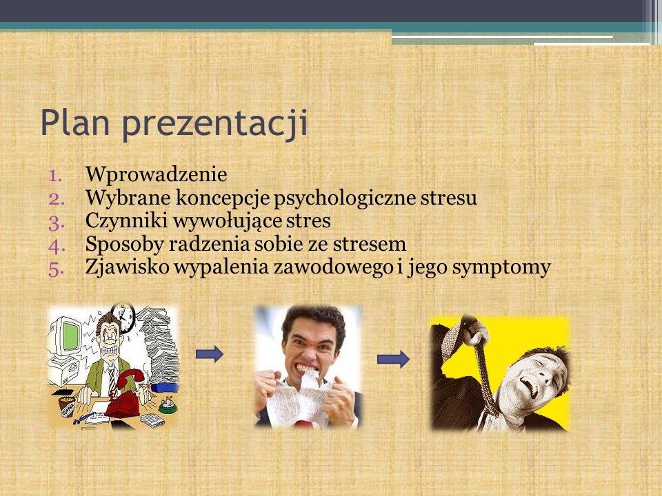 Plan prezentacji Wprowadzenie Wybrane koncepcje psychologiczne stresu