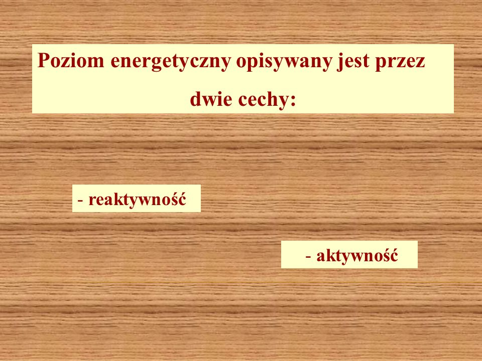 Poziom energetyczny opisywany jest przez dwie cechy: