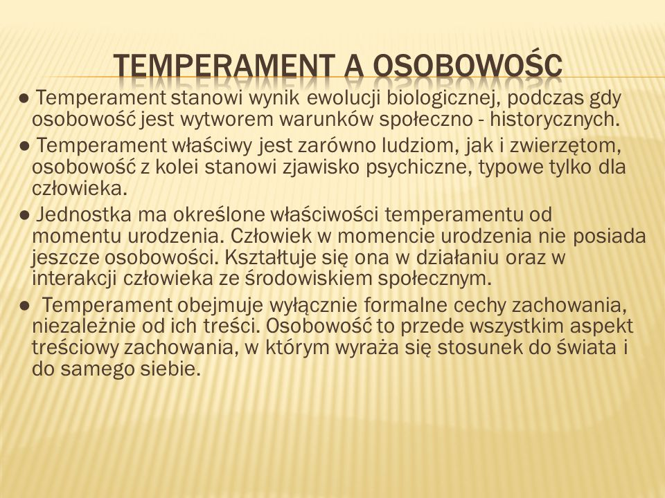 Temperament a osobowośc