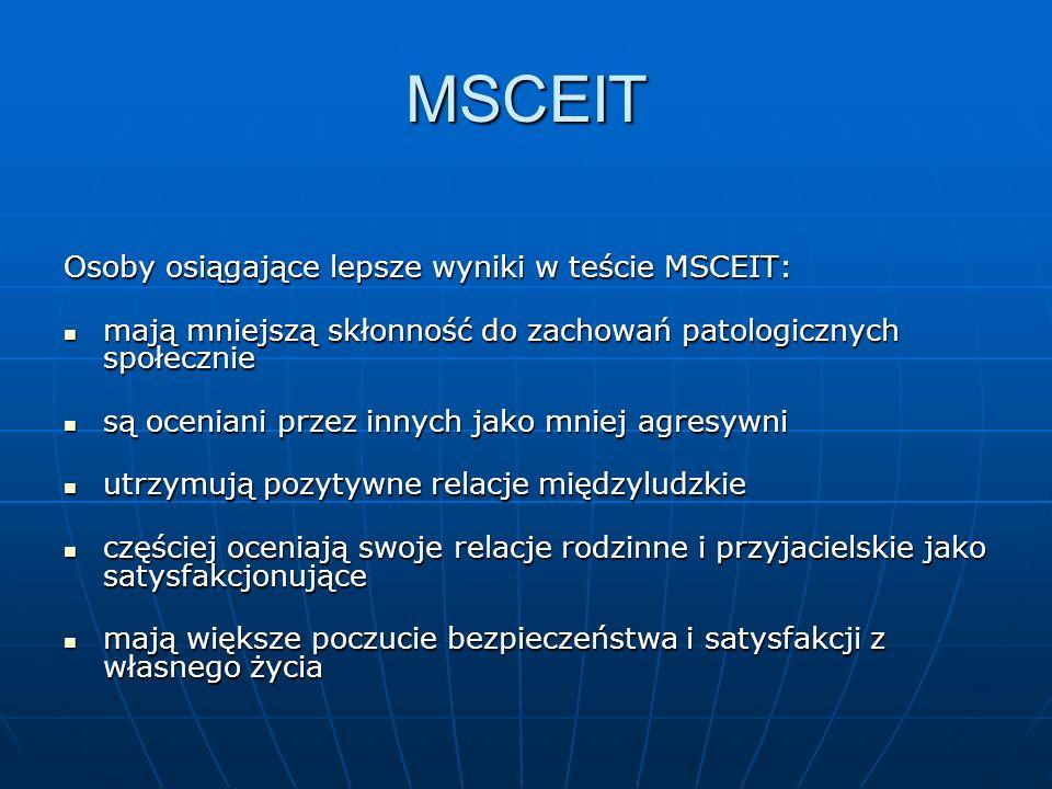 MSCEIT Osoby osiągające lepsze wyniki w teście MSCEIT: