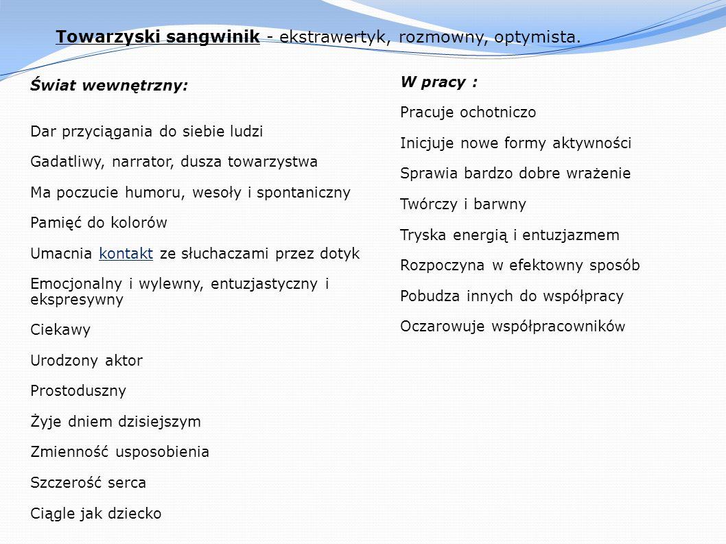 Towarzyski sangwinik - ekstrawertyk, rozmowny, optymista.