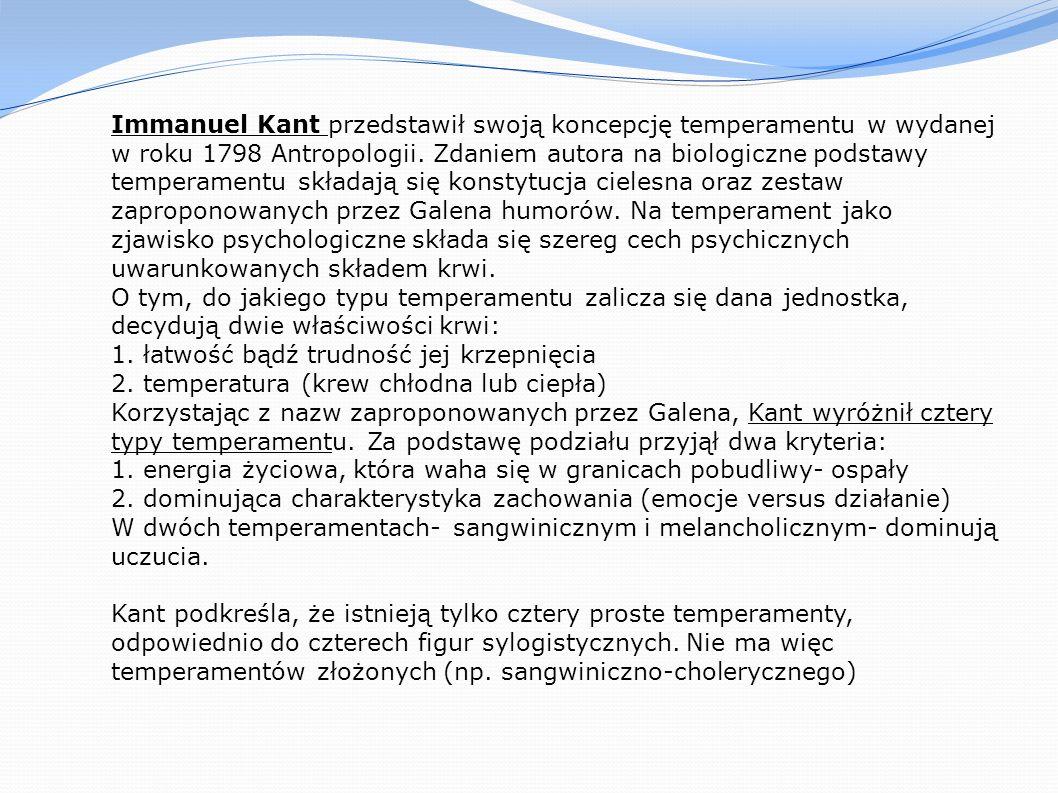Immanuel Kant przedstawił swoją koncepcję temperamentu w wydanej w roku 1798 Antropologii.
