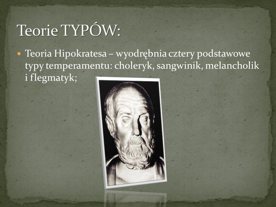 Teorie TYPÓW: Teoria Hipokratesa – wyodrębnia cztery podstawowe typy temperamentu: choleryk, sangwinik, melancholik i flegmatyk;
