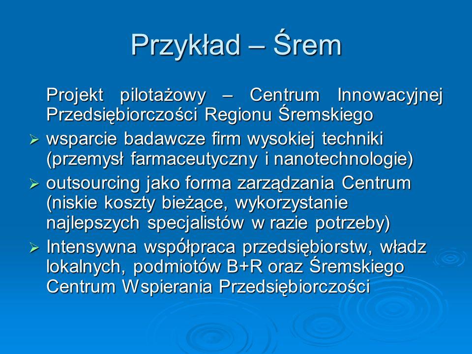 Przykład – Śrem Projekt pilotażowy – Centrum Innowacyjnej Przedsiębiorczości Regionu Śremskiego.