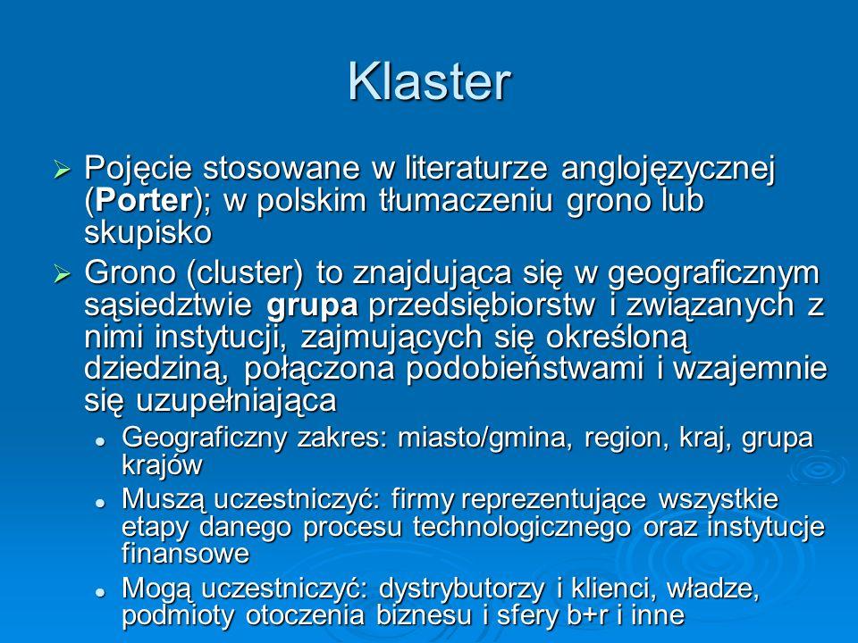 Klaster Pojęcie stosowane w literaturze anglojęzycznej (Porter); w polskim tłumaczeniu grono lub skupisko.
