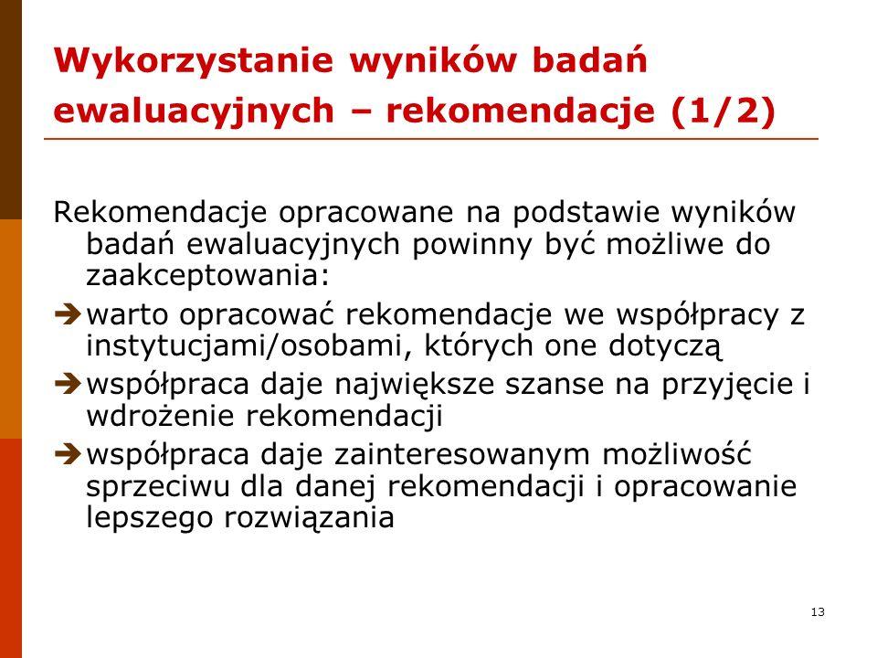 Wykorzystanie wyników badań ewaluacyjnych – rekomendacje (1/2)