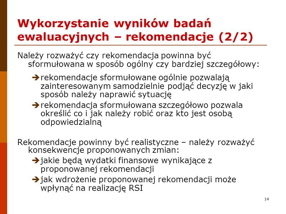 Wykorzystanie wyników badań ewaluacyjnych – rekomendacje (2/2)