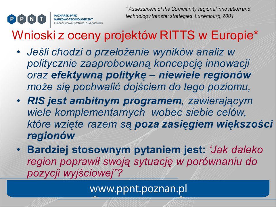 Wnioski z oceny projektów RITTS w Europie*