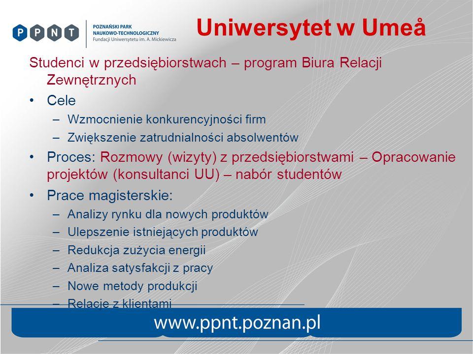 Uniwersytet w Umeå Studenci w przedsiębiorstwach – program Biura Relacji Zewnętrznych. Cele. Wzmocnienie konkurencyjności firm.