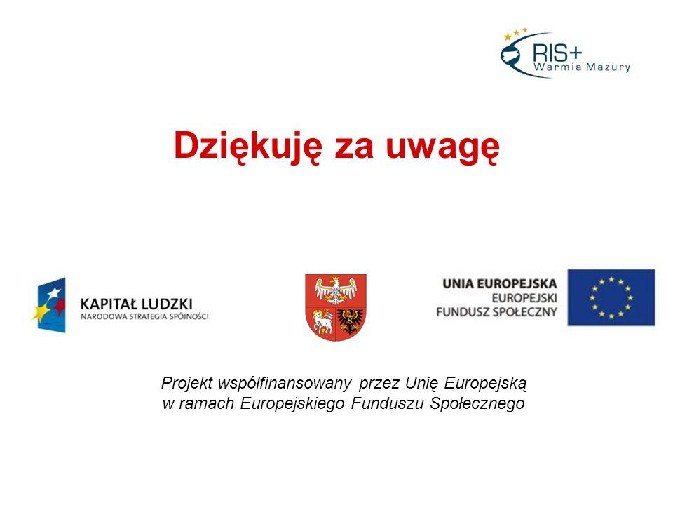 Dziękuję za uwagę Projekt współfinansowany przez Unię Europejską