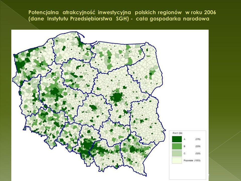 Potencjalna atrakcyjność inwestycyjna polskich regionów w roku 2006 (dane Instytutu Przedsiębiorstwa SGH) - cała gospodarka narodowa