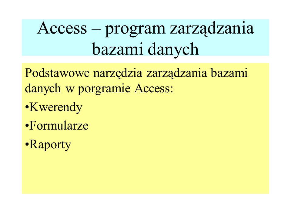Access – program zarządzania bazami danych