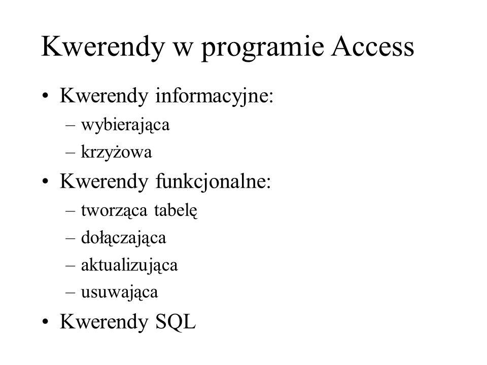 Kwerendy w programie Access