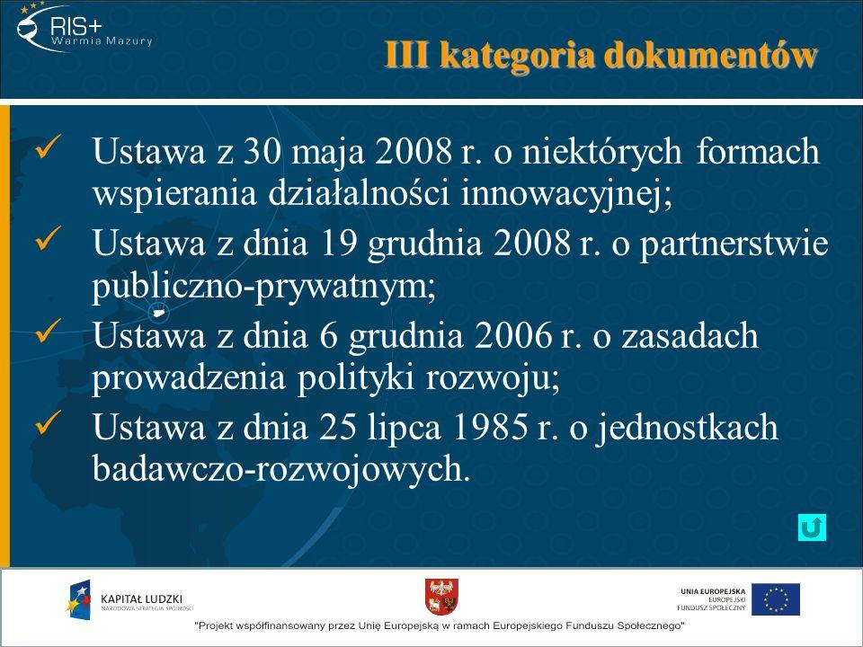 III kategoria dokumentów