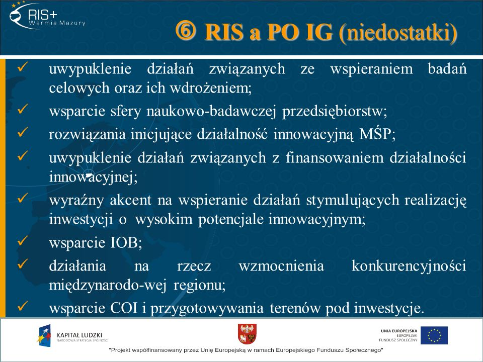  RIS a PO IG (niedostatki)