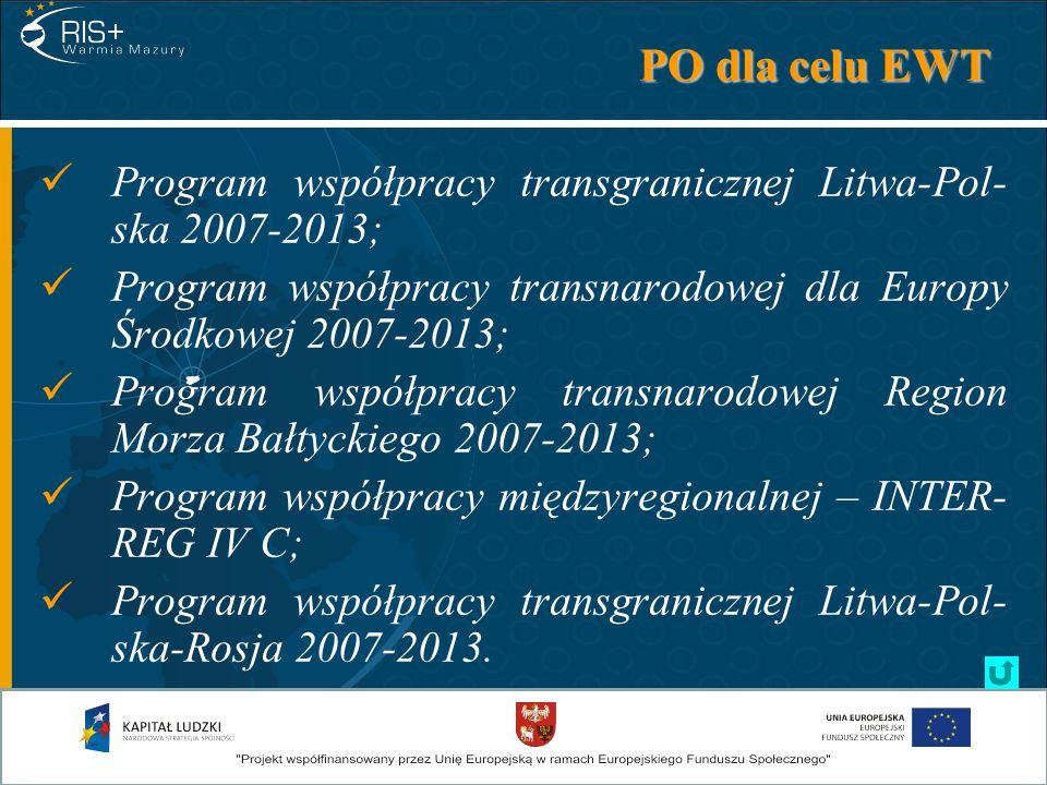 PO dla celu EWT Program współpracy transgranicznej Litwa-Pol-ska 2007-2013; Program współpracy transnarodowej dla Europy Środkowej 2007-2013;