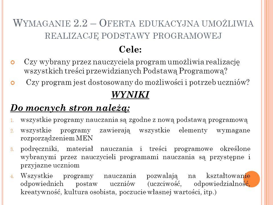 Wymaganie 2.2 – Oferta edukacyjna umożliwia realizację podstawy programowej