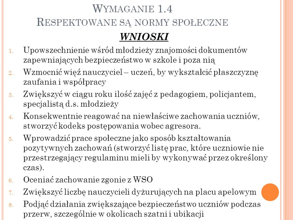 Wymaganie 1.4 Respektowane są normy społeczne
