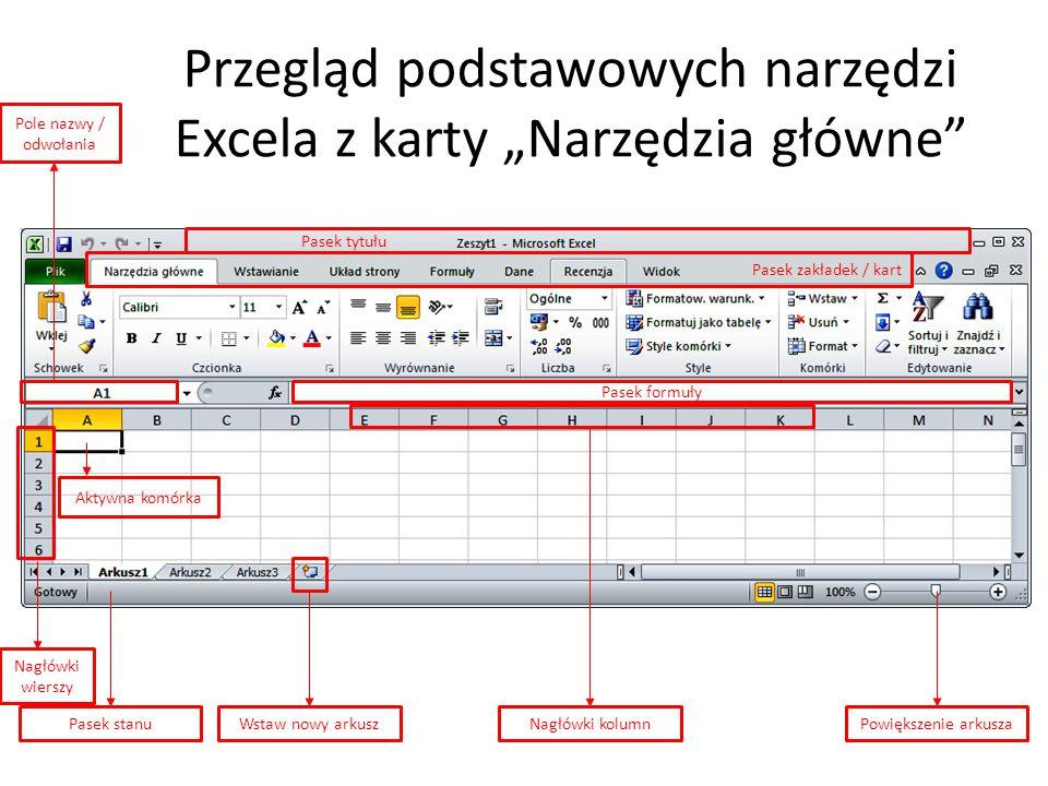 """Przegląd podstawowych narzędzi Excela z karty """"Narzędzia główne"""