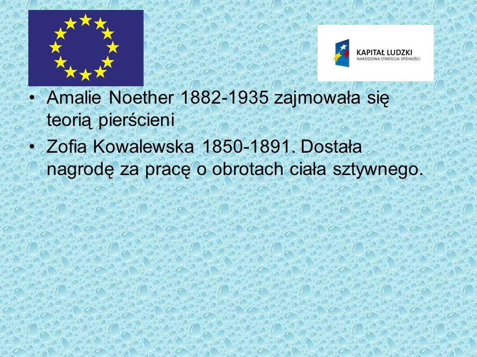 Amalie Noether 1882-1935 zajmowała się teorią pierścieni