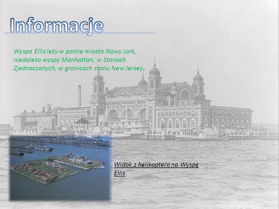 Informacje Wyspa Ellis leży w porcie miasta Nowy Jork, niedaleko wyspy Manhattan, w Stanach Zjednoczonych, w granicach stanu New Jersey.